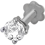 Single Diamond Nose stud 0.15Ct Round Shape Natural Certified Solid White Gold